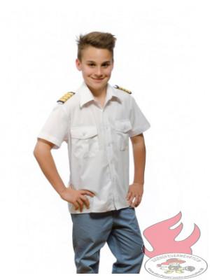 Weiße Kinder-Pilotenhemden, kurzarm